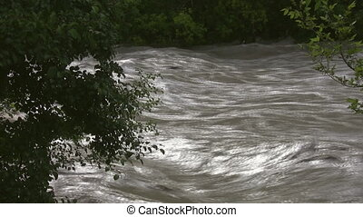 View through trees of fast moving flooded river. Don River, Toronto, Canada.