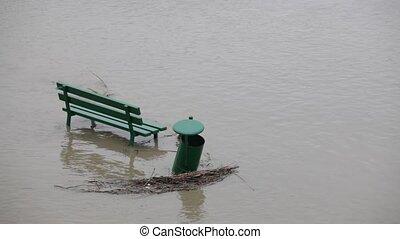 Flood. - Sidewalk under the water.