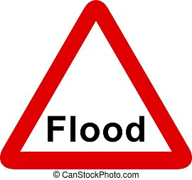 flood sign - Flood warning sign isolated on a white...