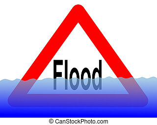 flood sign with water - British flood sign with rising water...