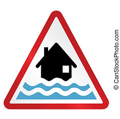 Flood Warning - Red alert flood warning sign isolated on...