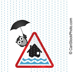 Flood Warning - Flood warning sign with bird sheltering from...