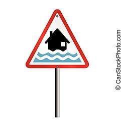 Flood Warning - Red flood alert warning sign fixed to post...