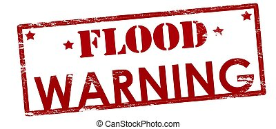 Flood warning - Rubber stamp with text flood warning inside,...