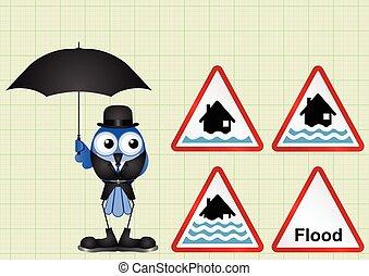 Flood warning sign collection - Flood alert flood warning...