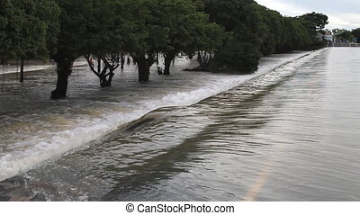 Flood, Water flow over road - Set collection montage,Flood,...