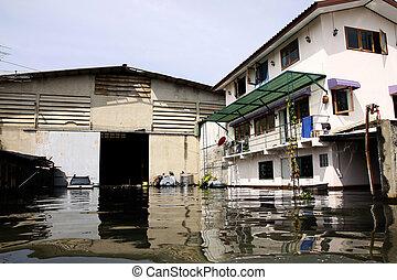 flood waters overtake house in Thai - Thailand Flood-flood...