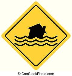 A cartoon illustration of a Flash Flood Sign.