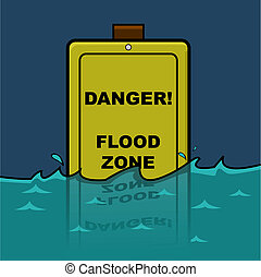 Flood zone - Cartoon illustration showing a traffic sign...