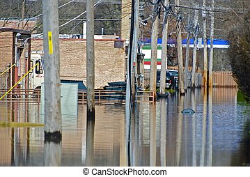 Flooded Alley - Chicago Suburbs, Illinois, USA. RIver Flood.