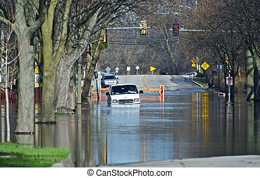 Flooded City Streets. Van in the Water. Heavy Rain River...