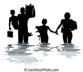 Flooded - Editable vector illustration of a family carrying...