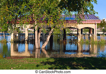 Flooded Harriet Island Pavilion in Saint Paul