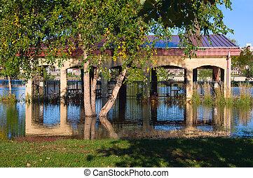 Flooded Harriet Island Pavilion in Saint Paul