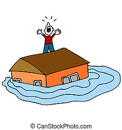 Flooded House - An image of a man on the roof of his flooded...
