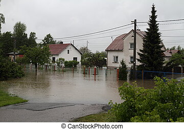 Flooded house in north-east of Czech republic. Name of the ...