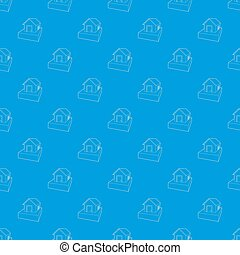 Flooded house pattern seamless blue
