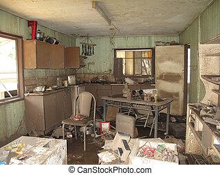Flooded Kitchen - A muddy flooded kitchen after the Brisbane...