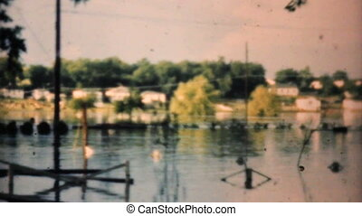 Flooded Neighborhood In 1948 - A flooded neighborhood in...