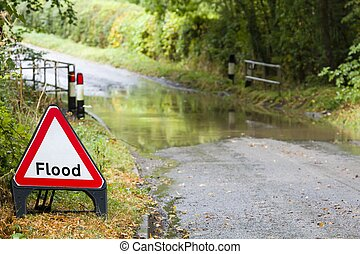 Flooded road in England, UK