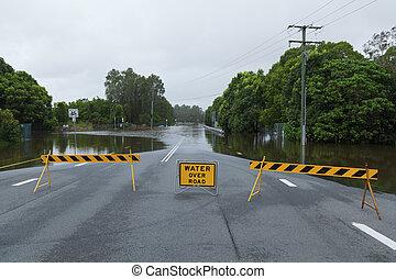 Flooded road in Queensland, Australia