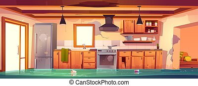 Flooded rustic kitchen, abandoned empty interior with broken...