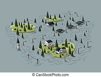 Flooded Village - Cartoon of an aerial view of a village...