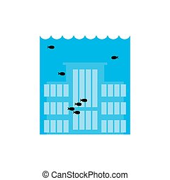 Flooding Building. many of water architecture. Deluge...