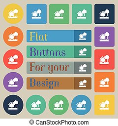 flooding home icon sign. Set of twenty colored flat, round, square and rectangular buttons. Vector