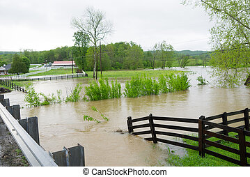 Flooding in Tennessee - Streams overflow their banks caused ...