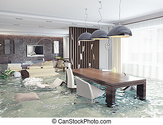 flooding interior - flooding in luxurious interior. 3d ...