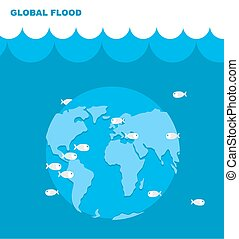 Flooding of planet Earth. World in water. Land under water....