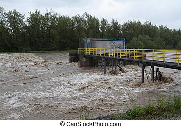 Flooding river Olza in north-east of Czech republic. Name of...
