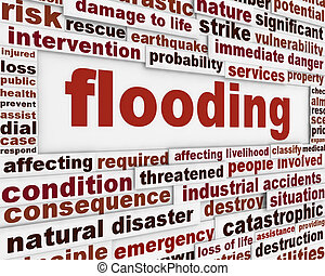 Flooding warning message. Natural disaster word clouds...
