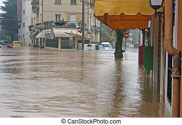 flooding2, 通り, 泥, invaded, の間, 道