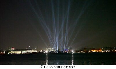 Floodlight show in Doha, Qatar, Middle East