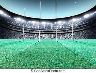 Floodlit Stadium Night - A generic seated aussie rules ...