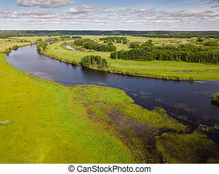 Picturesque landscape of central Russia with floodplain meadows along Oka River