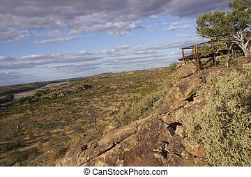 Viewing platform overlooking the flood plain of the Limpopo River in Mpungubwe National Park in South Africa