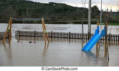 floods over children game zone near river
