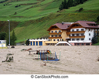 Some impressions of the flood in Ischgl (Austria) in the year 2005.