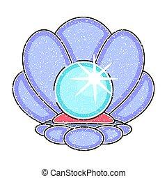 floor., カキ, hand-drawn., 海洋, 真珠