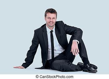 floor., モデル, 若い, ビジネスマン