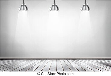 floor., 木製である, スポットライト, 灰色, 部屋