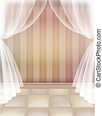 floor and curtain - illustration drawing of beautiful floor...