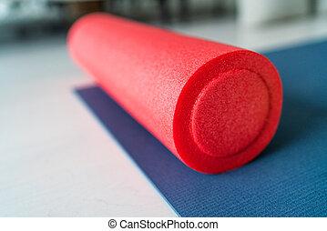 floor., athlètes, exercer equipement, fatigué, closeup, ...