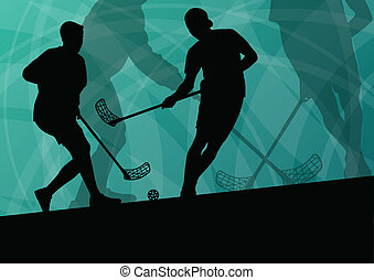 Floor ball players active sport silhouettes vector abstract ...