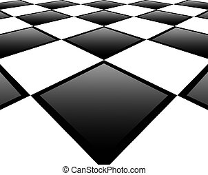 Floor - Black and white squares with perspective effect