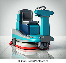 Floor cleaning machine isolated on white background. 3D illustration