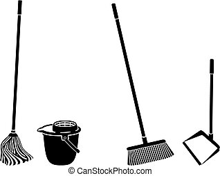 Floor cleaning objects black and white silhouettes